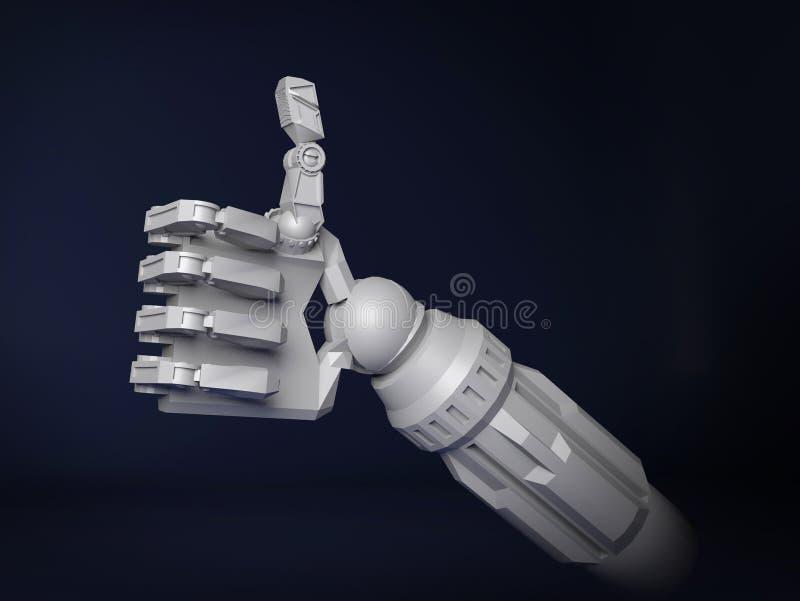 Robothanden som gör tummar gör en gest upp framförande 3d vektor illustrationer