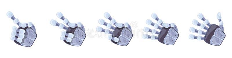 Robothandgester Robotic händer Mekaniskt symbol för teknologimaskinteknik gester hand seten tecken royaltyfri illustrationer