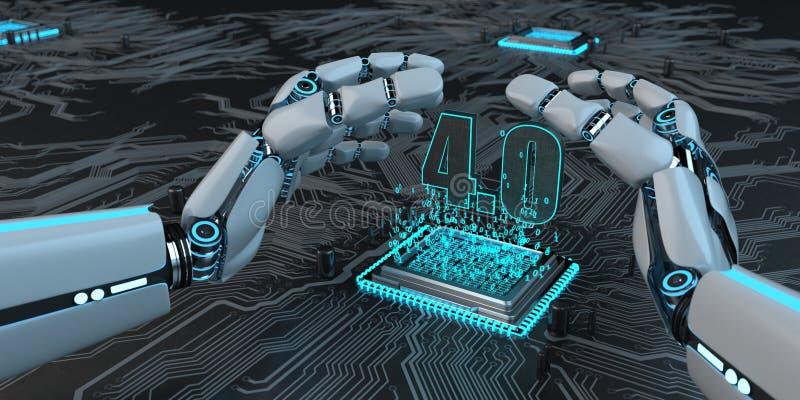 Robothandprocessor 4 stock illustrationer