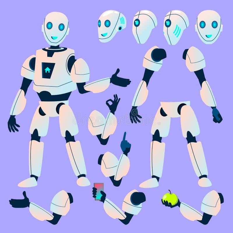 Robothjälpredavektor Animeringskapelseuppsättning modern robot Klient Bot för kundsupporttjänstpratstund Huvud gester stock illustrationer
