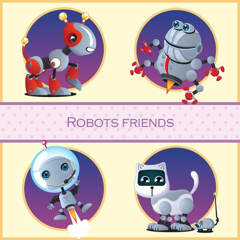 Robothond, kever, astronaut en de kat en de muis stock illustratie