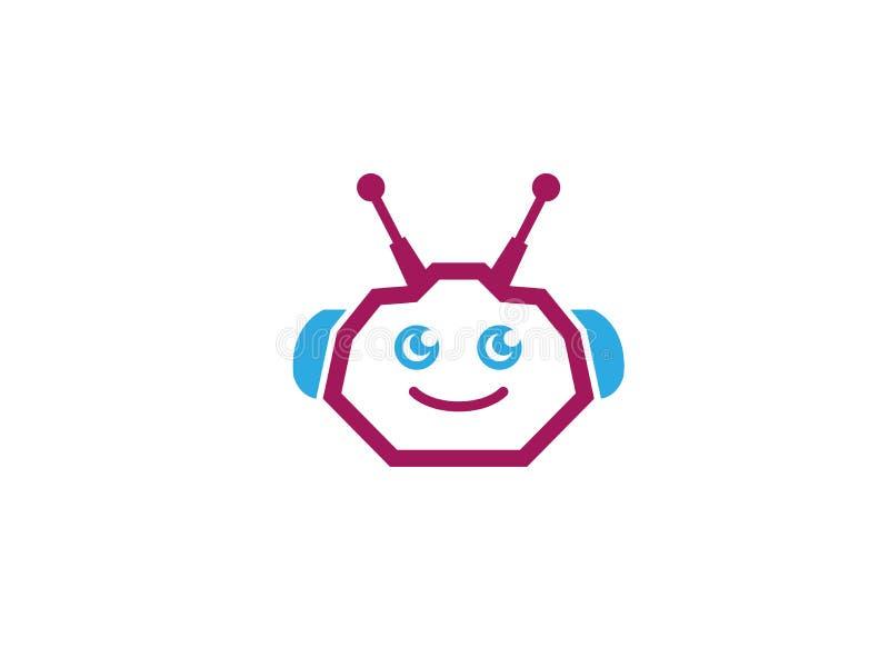 Robothuvud, cyborg eller android för logodesignillustratör royaltyfri illustrationer