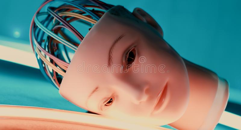 Robothuvud, humanoidandroidhuvud royaltyfri fotografi