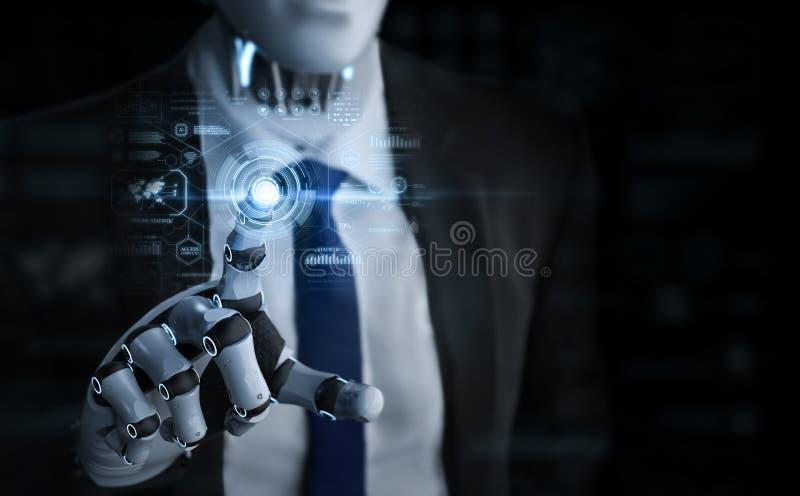 Robotic affärsman med grafisk skärm stock illustrationer