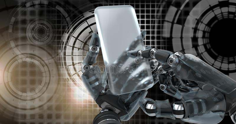 Robotic android hand using phone device and Glowing circle technology interface. Digital composite of Robotic android hand using phone device and Glowing circle stock illustration