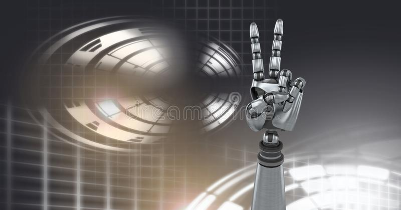 Robotic androidfredhand och glödande cirkelteknologimanöverenhet royaltyfri illustrationer