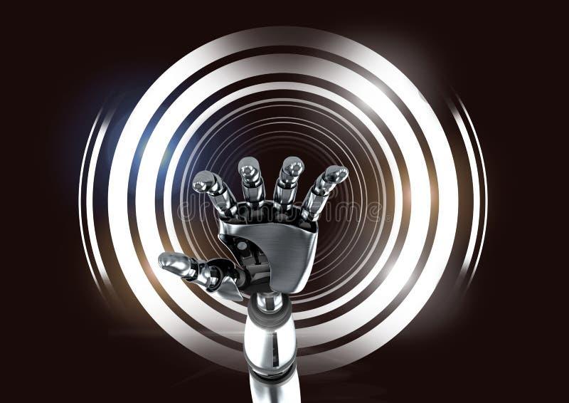 Robotic androidhand och glödande cirklar på svart bakgrund stock illustrationer