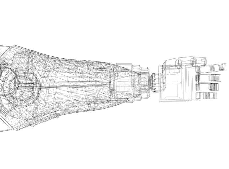 Robotic Arm Architect Blueprint, isolated. Shoot Of The Robotic Arm Architect Blueprint, isolated royalty free illustration