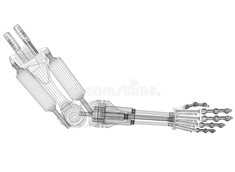 Robotic Arm Concept Architect Blueprint - isolated. Shoot Of The Robotic Arm Concept Architect Blueprint - isolated stock illustration