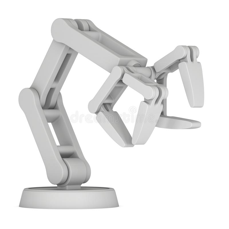 Robotic arm 3d. Robotic arm manufacture technology industry assembly mechanic hand 3d render illustration isolated on white stock illustration