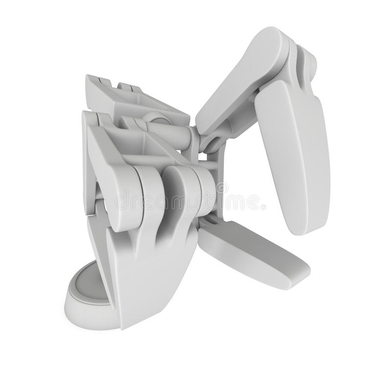 Robotic arm 3d. Robotic arm manufacture technology industry assembly mechanic hand 3d render illustration isolated on white royalty free illustration