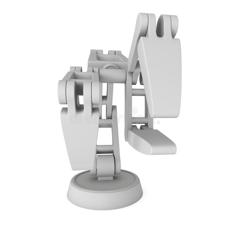 Robotic arm 3d. Robotic arm manufacture technology industry assembly mechanic hand 3d render illustration isolated on white vector illustration