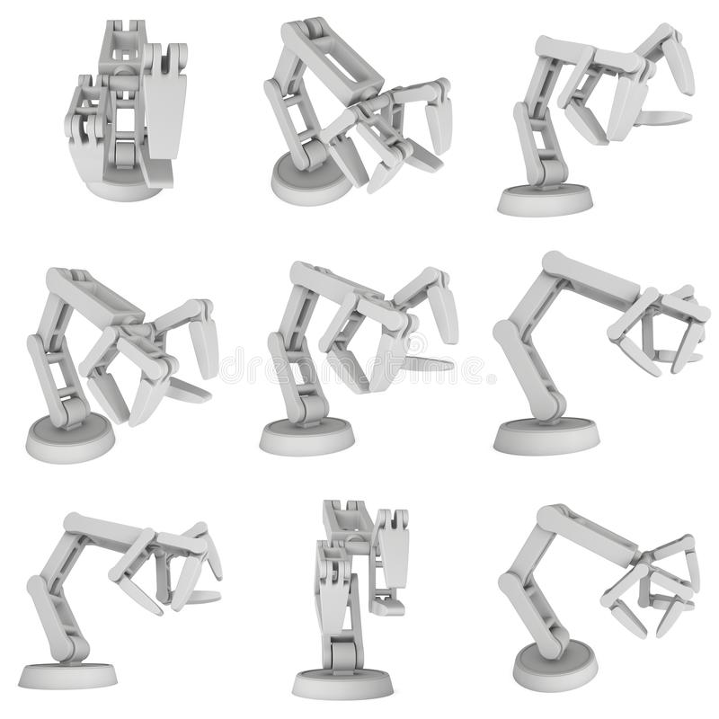 Robotic arm 3d. Robotic arm manufacture technology industry assembly mechanic hand set 3d render illustration isolated on white vector illustration