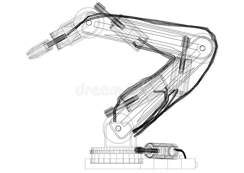 Robotic Arm Design Architect Blueprint - isolated. Shoot Of The Robotic Arm Design Architect Blueprint - isolated stock illustration