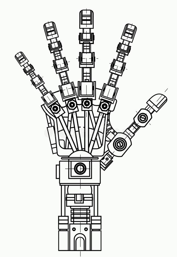 Robotic arm drawing model. It can be used as an illustration of robotics ideas, artificial intelligence, bionic royalty free illustration