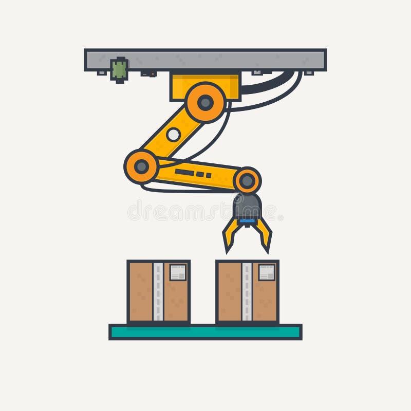 Robotic arm för fabrik vektor illustrationer