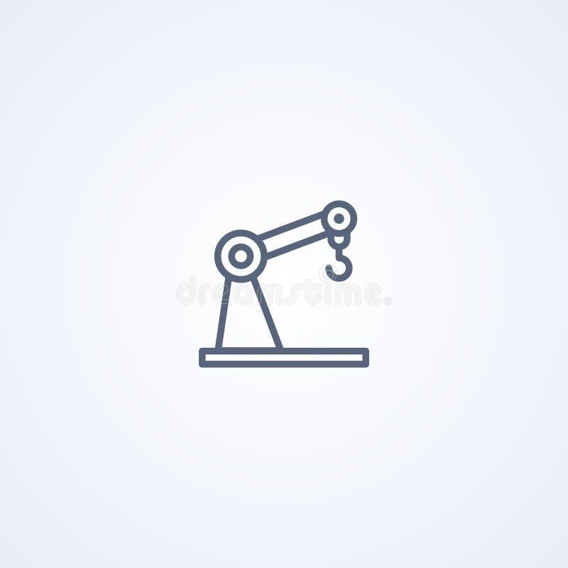 Robotic arm för kran, bästa grå linje symbol för vektor royaltyfri illustrationer