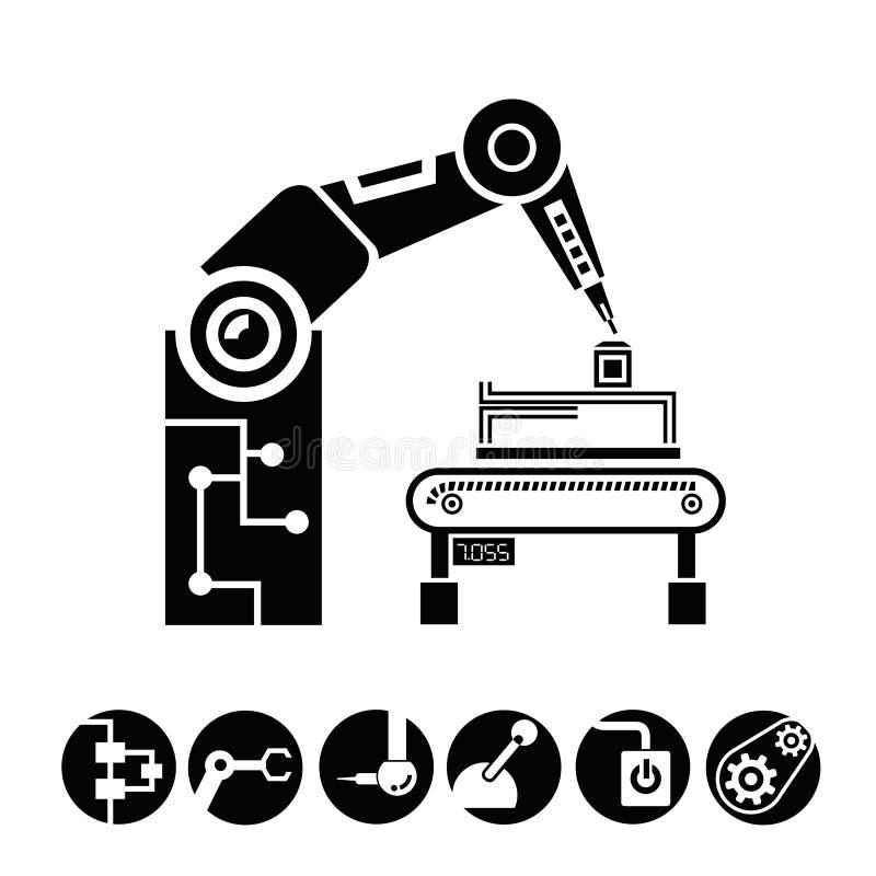 Robotic arm, fabriks- begrepp royaltyfri illustrationer