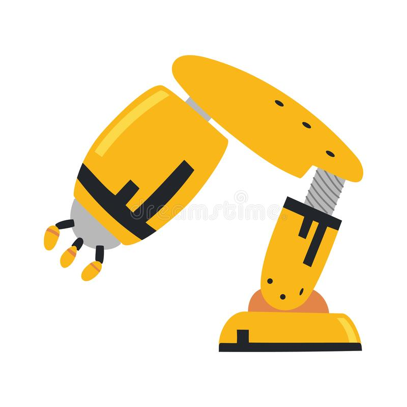 Robotic arm, hand. Vector robot icons set. Industrial technology and factory symbols. Flat illustration isolated on. White background royalty free illustration