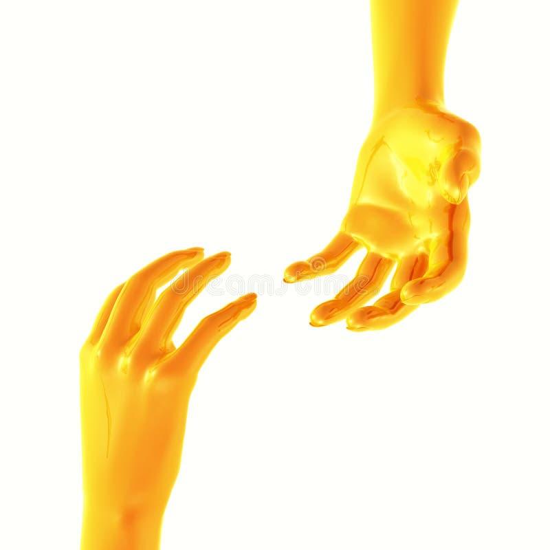 Robotic arm helping hand stock illustration
