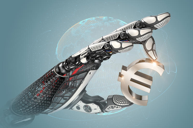 Robotic arm holding euro sign with metallic fingers stock illustration