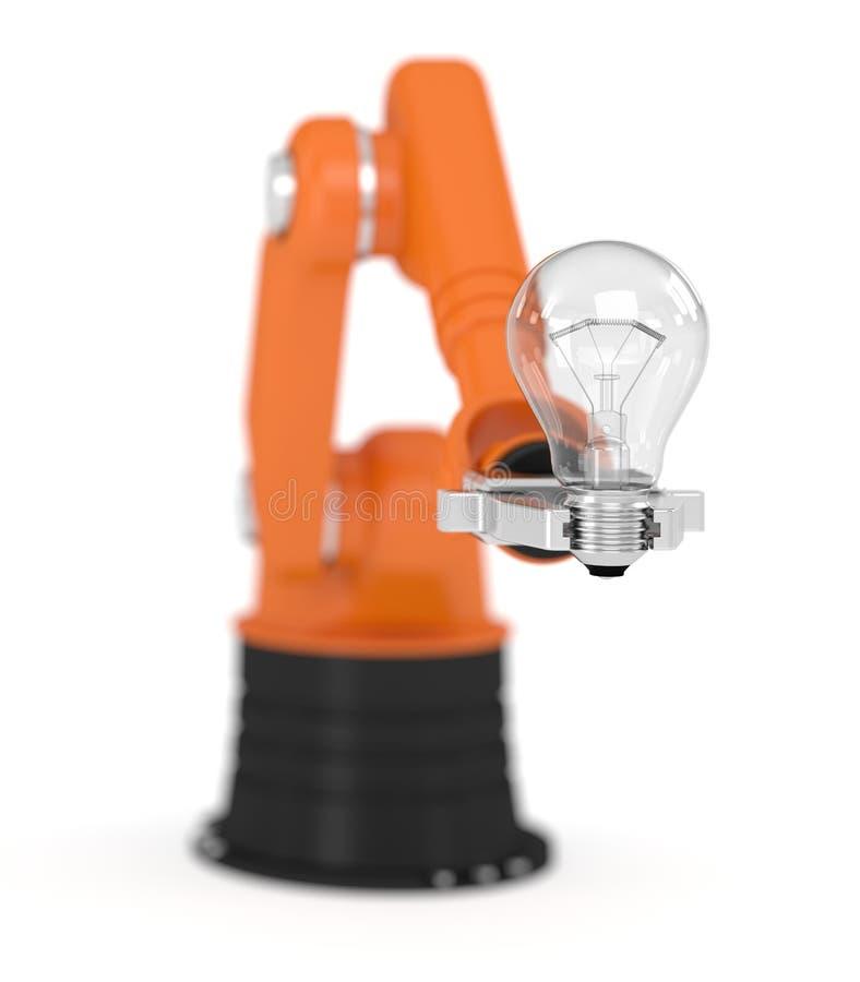 Robotic arm holding light bulb vector illustration