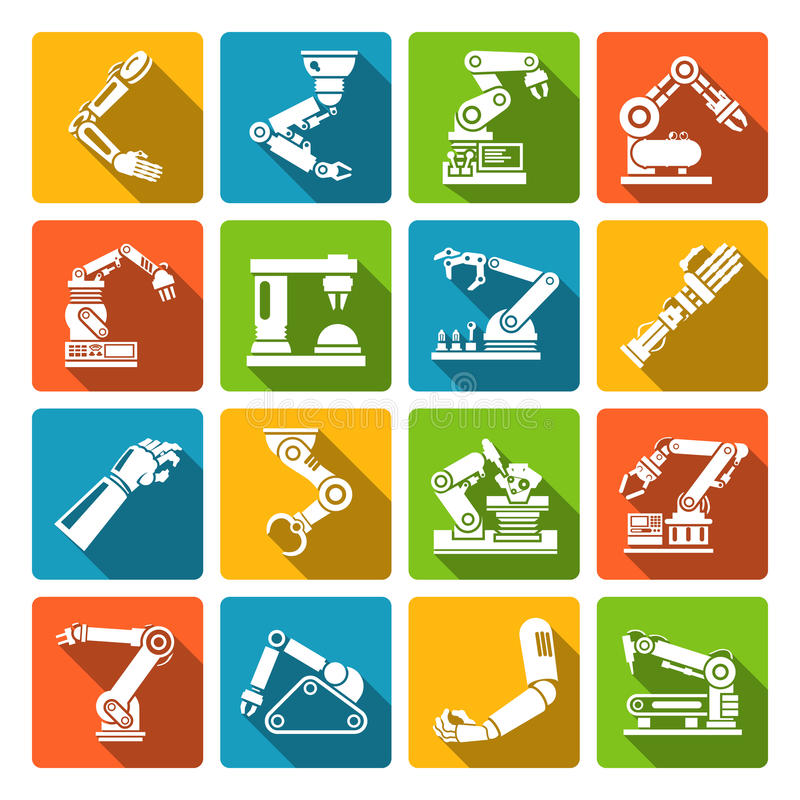 Robotic arm icons flat vector illustration