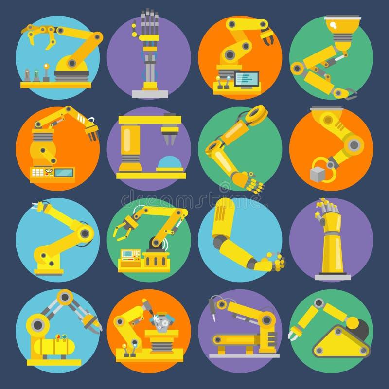 Robotic arm icons flat royalty free illustration