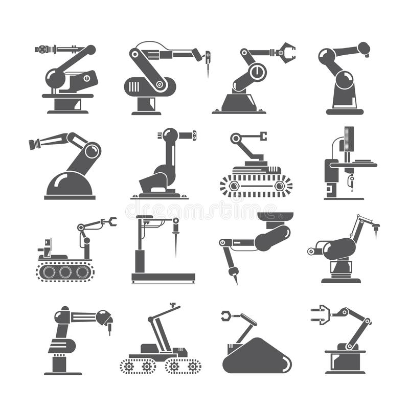 Robotic arm icons, industry assembly robots. Set of 16 robotic arm icons, industry assembly robots stock illustration