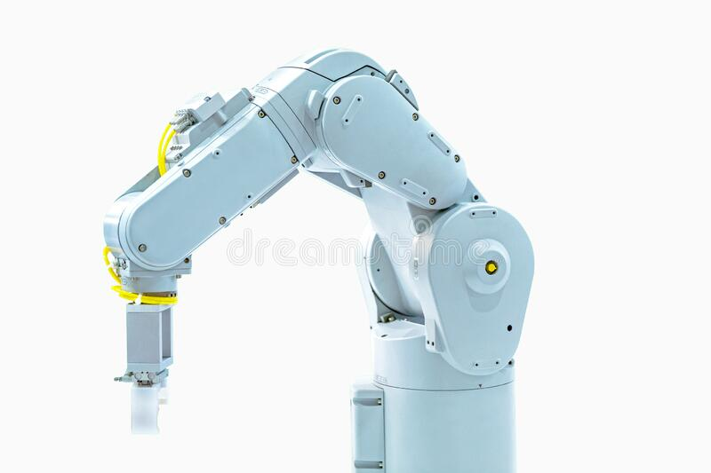 Robotic arm machine, Industry 4.0 Robot concept .The robot arm is working smartly in the production department on white background. White robotic arm isolated on royalty free stock photos