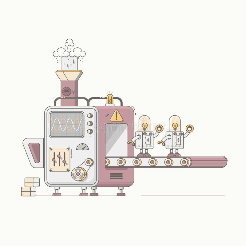 Robotic arm mechanic equipment assembling robots on factory concept vector illustration stock illustration