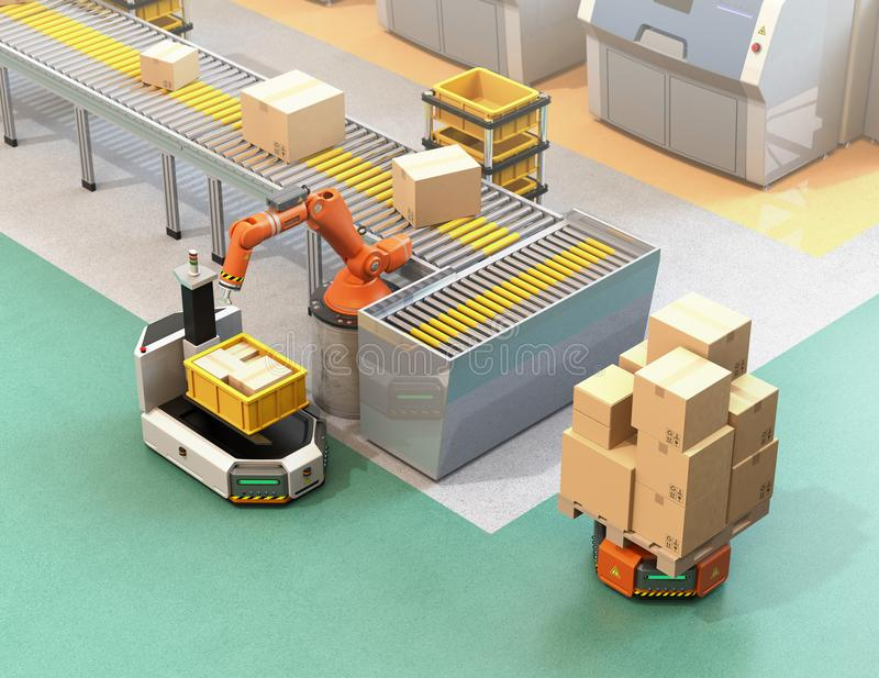Robotic arm picking parcel from conveyor to AGV royalty free illustration
