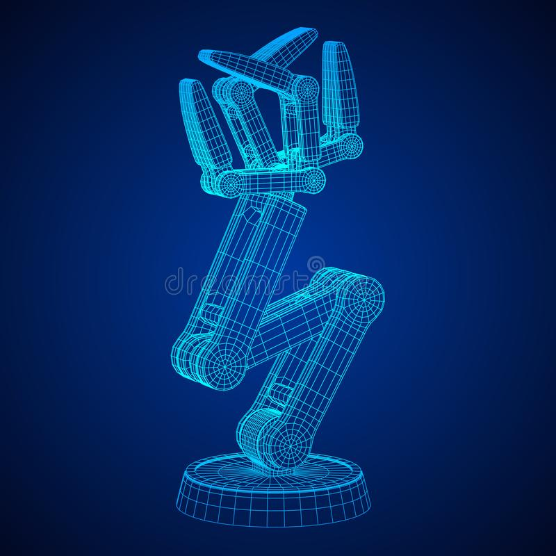 Robotic arm vector. Robotic arm manufacture technology industry assembly mechanic hand wireframe low poly mesh vector illustration stock illustration