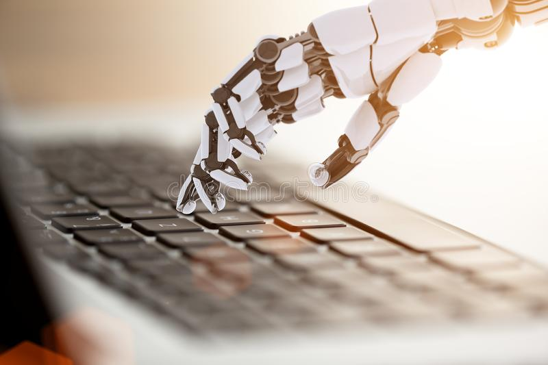 Robotic arm working with notebook. Conceptual technology design. stock image