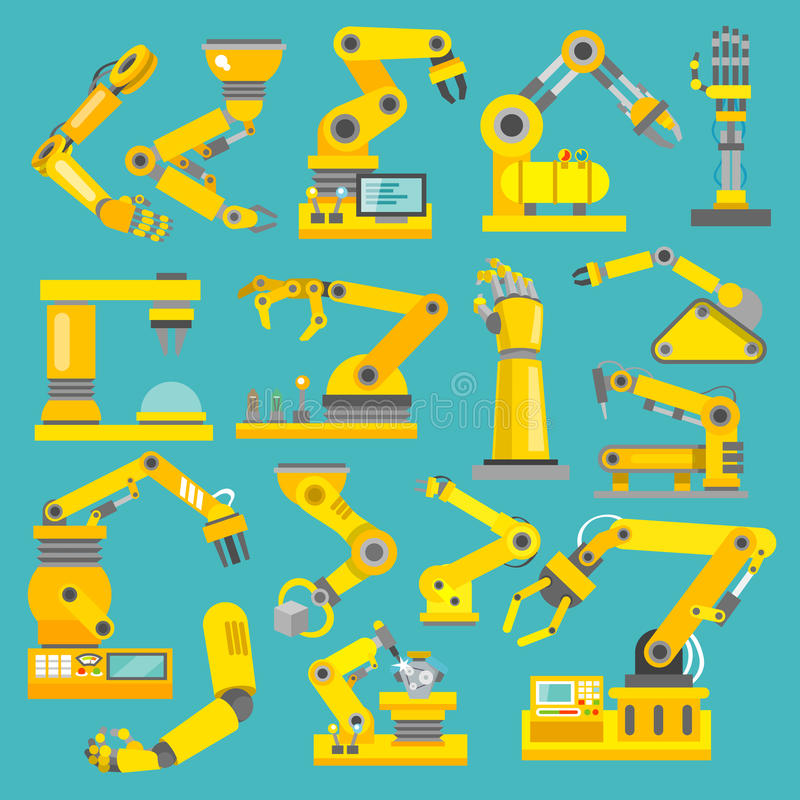 Robotic armlägenhet stock illustrationer