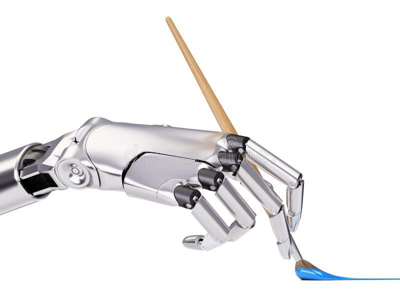 Robotic armmålning med illustrationen för borsteCloseup 3d vektor illustrationer