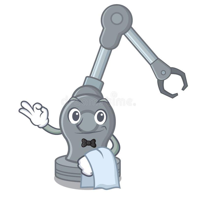 Robotic armmaskin för uppassare i maskot stock illustrationer