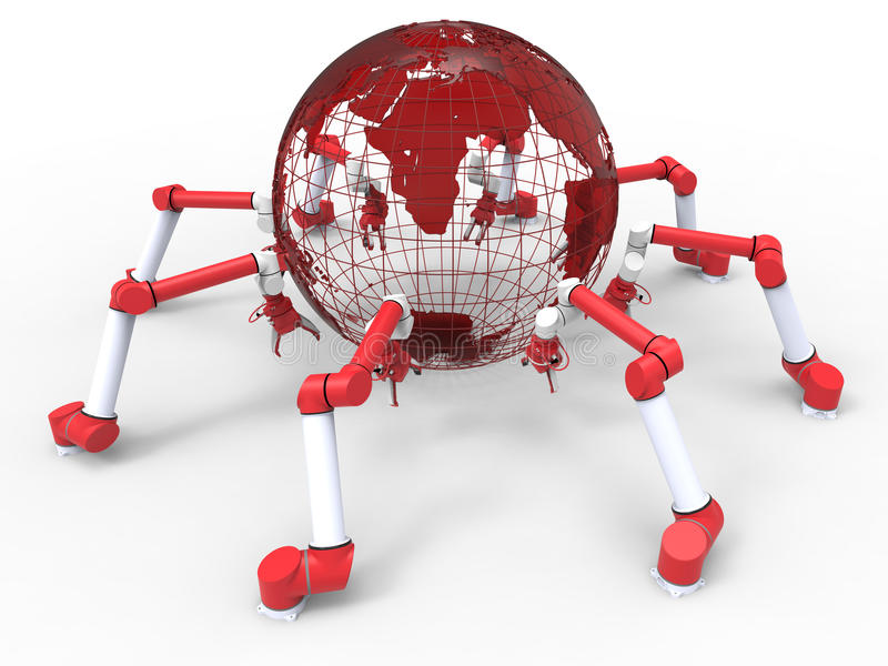 Robotic arms - assembly around the world concept royalty free illustration