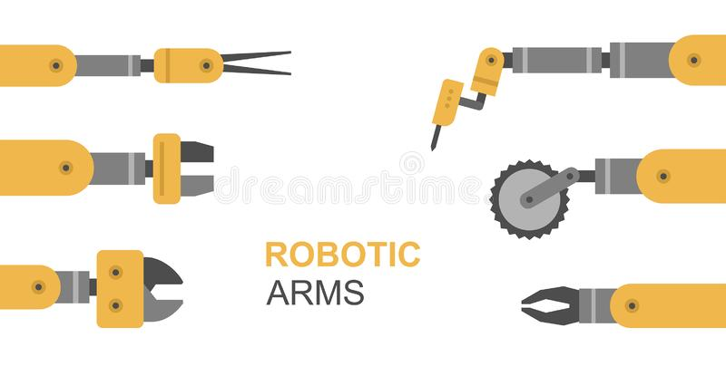 Robotic arms vector illustration