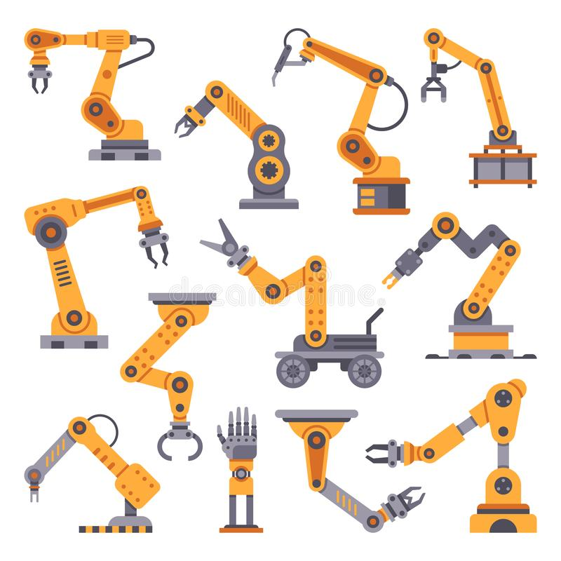 Robotic arms set. Manufacturing automation technology. Industrial robot arm machine. Factory assembly robots flat design vector illustration