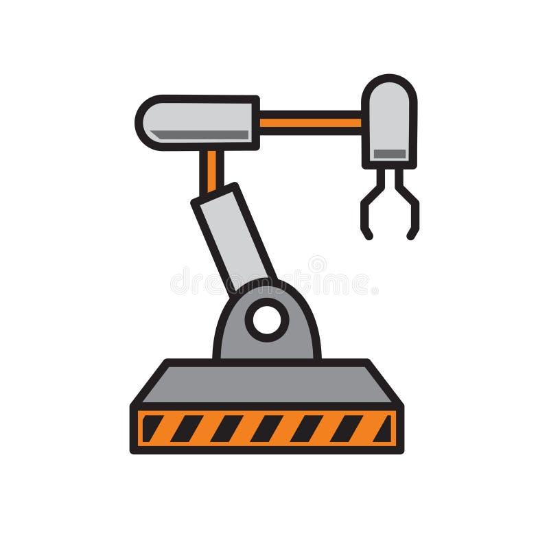 Robotic armsymbol på vit bakgrund för diagrammet och rengöringsdukdesignen, modernt enkelt vektortecken för färgbegrepp för bakgr royaltyfri illustrationer
