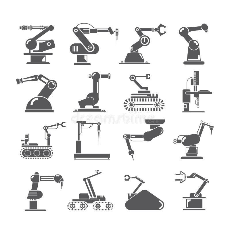 Robotic armsymboler, branschenhetsrobotar stock illustrationer