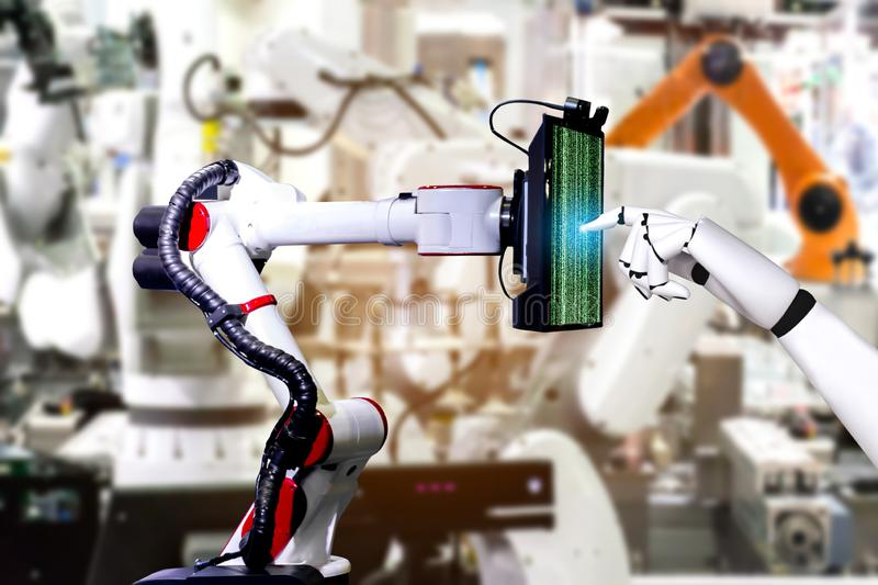 Robotic artificial automated manufacturing smart robot touch screen tablet royalty free stock photos