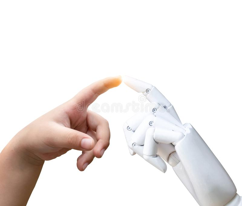 Robotic artificial intelligence future transition child human hand finger hit robot hand press royalty free stock images