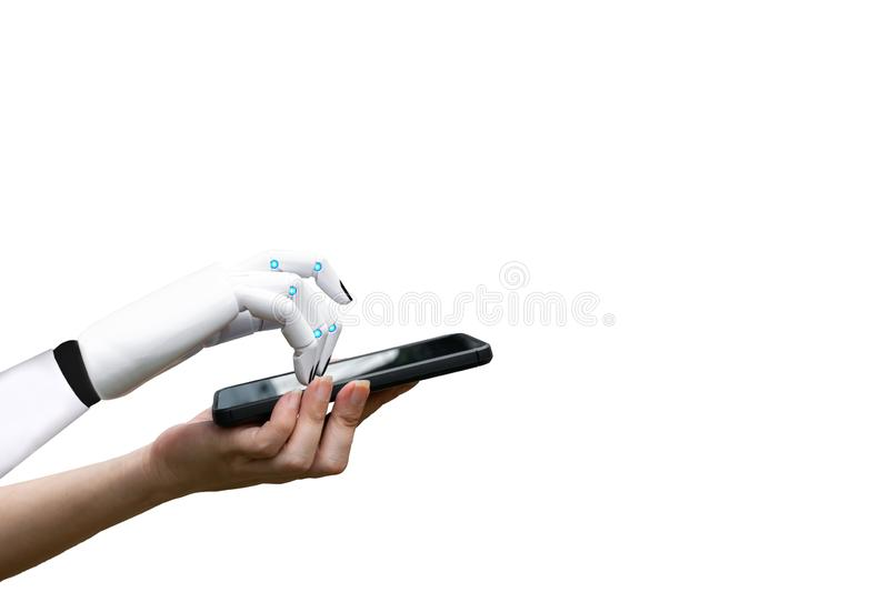 Robotic artificial intelligence transition human hand to robot hand press the smartphone button. White background stock images