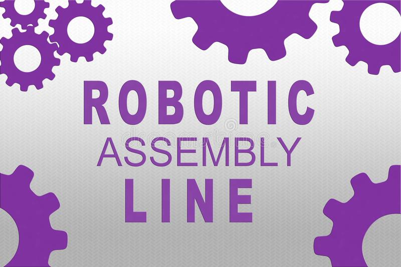 ROBOTIC ASSEMBLY LINE concept royalty free illustration