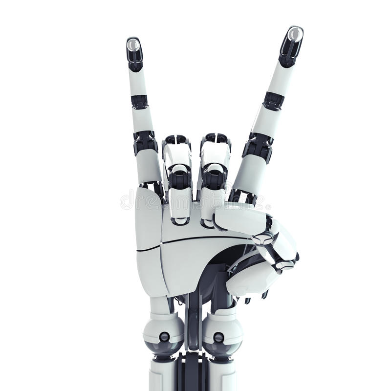 Robotic beväpna visningen vaggar undertecknar vektor illustrationer