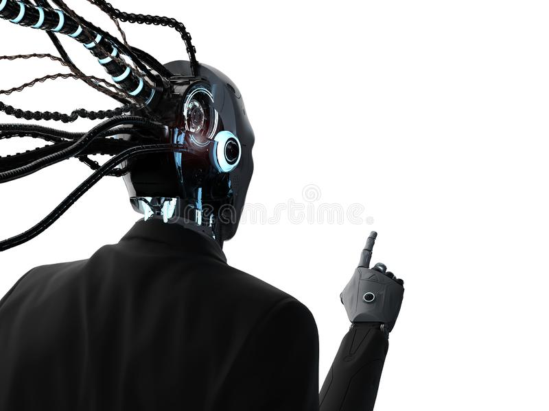 Robotic businessman with cables. 3d rendering robotic businessman with cables wear suit vector illustration