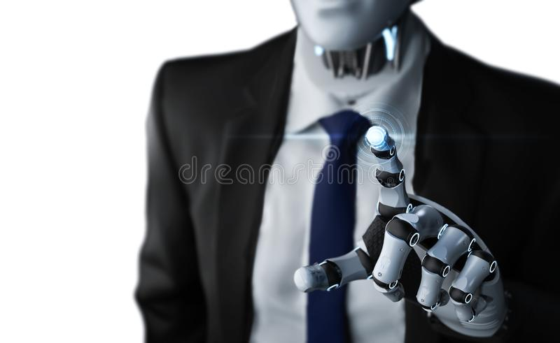 Robotic businessman with graphic display vector illustration