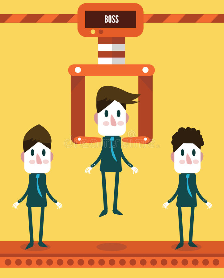 Robotic choosing worker from group of businessmen. royalty free illustration
